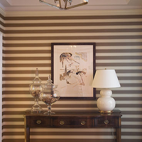 Amanda Nisbet Design - entrances/foyers: taupe, white, striped, wallpaper, lantern, pendant, tray, ceiling, white, gourd, lamp, antique, wood, console, table, glass, jars, painting, art,