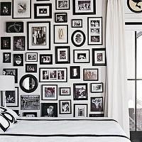 Coastal Living - bedrooms - black, white, photo, gallery, white, silk, drapes, black, white, bedding, photo walls, photo wall collage, photo wall ideas, family photo walls,