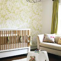 Samantha Farjo Design - nurseries - green, wallpaper, accent, wall, modern, crib, ivory, flokati, rug, tan, beige, mushroom, linen, sofa, green, silk, drapes, bird, cage, pendant, chandelier, pendant, tan, beige, green, nursery. bird cage, hanging bird cage, bird cage pendant, bird cage chandelier, Anthropologie Songbird Chandelier,