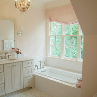 Lori Tippins Interiors - bathrooms - pink, valance, pink, walls, ivory, bathroom, cabinet, vanity, white, mirror, chrome, fixtures, sconces, white, carrara, marble, countertops, hexagon, marble, floors. tiles, crystal, chandelier,