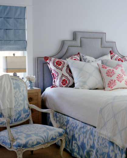 bedrooms - bedroom, gray blue bedroom, gray blue bedroom ideas, gray and blue bedroom, gray and blue bedroom ideas, gray headboard, gray linen headboard, blue roman shades, ikat bed skirt, blue bed skirt, ikat chair, blue ikat chair,