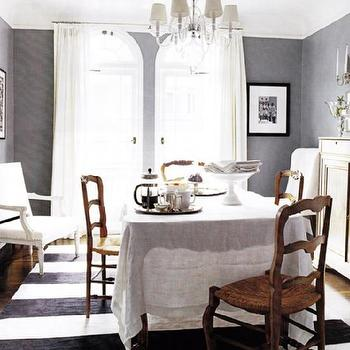 dining rooms - gray walls, gray paint colors, benjamin moore grays, benjamin moore gray paint, gray dining room, striped rug, dining room fireplace,