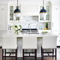 kitchens - leather bar stools, leather counter stools, white bar stools, white counter stools, white leather bar stools, white leather counter stools, blue hicks pendants, white marble subway tiles, island sink, White Carrara Marble Subway Tiles, Hicks Pendant,