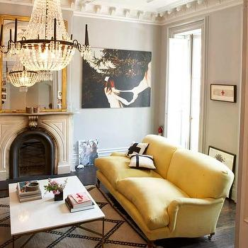 Living Etc - living rooms - yellow and gray rooms, gray and yellow rooms, yellow and gray living rooms, gray and yellow living rooms, yellow sofa, canary yellow sofa, gray walls, ornate crown molding,