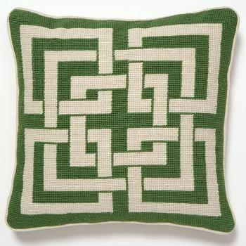 Pillows - Trina Turk Shanghai Links Geometric Pillow Needlepoint Green and White Petite Small Preppy Throw Pillow - pillows