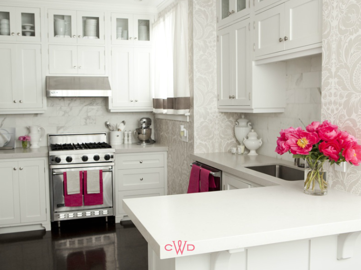 Caitlin Wilson Design - kitchens - hot pink accents, kitchen with hot pink accents, kitchen with pink accents, white shaker cabinets, white marble backsplash, damask wallpaper, white and gray damask wallpaper, kitchen wallpaper, wallpaper for kitchen, kitchen peninsula, ceiling height cabinets, ceiling height kitchen cabinets,