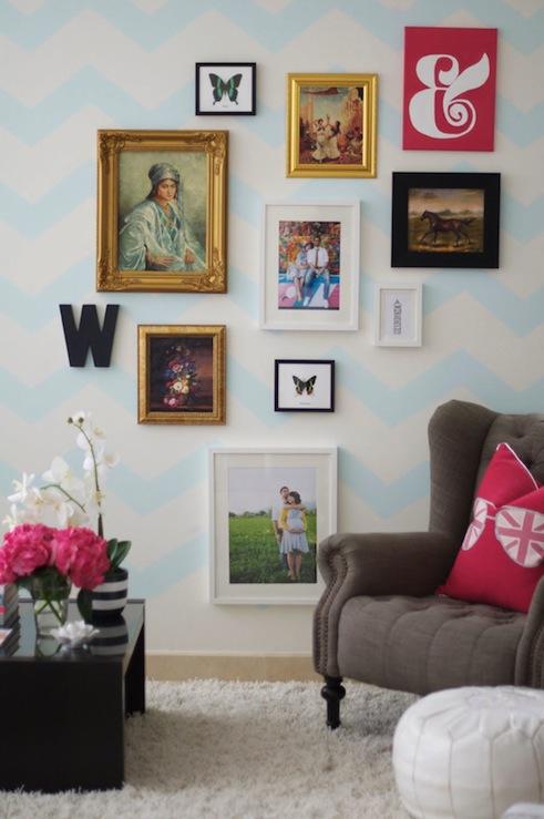 Chevron Walls Eclectic Living Room Caitlin Wilson Design