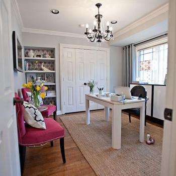 Studio Ten 25 - dens/libraries/offices - jute rug, hot pink chairs, white desk, gray walls, stonington gray, gray wall paint, gray paint colors, grey paint colors,