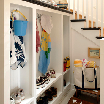 Under The Stairs Mudroom, Cottage, laundry room, Waterleaf Interiors