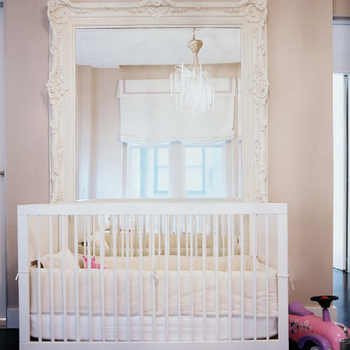 Lonny Magazine - nurseries - baroque mirror, white baroque mirror, baroque floor mirror, white baroque floor mirror, pink nursery,  Laura Day