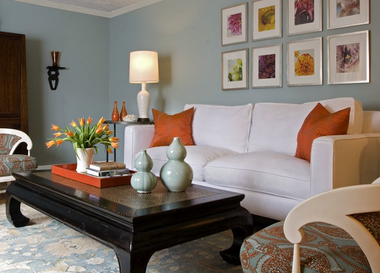 Angie Hranowski - living rooms - white, sofa, orange, silk, pillows, blue, gourd, vases, black, asian, zen, coffee, table, blue, orange, fabric, chairs, white, lamps, armoire, steel, accent, tables, blue, yellow, wool, rug, art, gallery, orange, tray, blue, orange, living room,