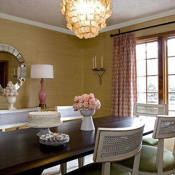 Angie Hranowski - dining rooms - gold grasscloth, gold grasscloth wallpaper, silver sunburst mirrors, pink lamps, pink glass lamps, Fortune Mirror,