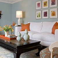 Angie Hranowski - living rooms - orange accents, orange room accents, blue and orange room, orange pillows, white sofa, 2 cushion sofa, white 2 cushion sofa, black coffee table, chinoiserie coffee table, orange tray, orange lacquer tray,