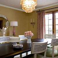 Angie Hranowski - dining rooms - pink, drapes, yellow, grasscloth, wallpaper, silver, web, mirror, pink, lamps, dining, table, white, vintage, chairs, green, cushions, candle, sconces, capiz, chandelier, dining, room, Fortune Mirror,