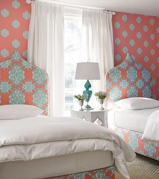 Thibaut Design - bedrooms - Thibaut Ivana Wallpaper, Thibaut Jakarta Fabric, thibaut wallpaper, thibaut fabric, moroccan accent table, turquoise lamp, taj mahal headboards,