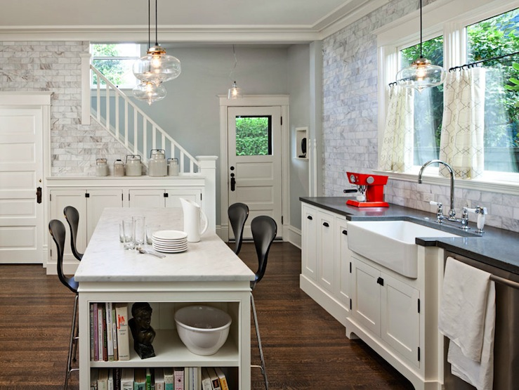 Jessica Helgerson Interior Design - kitchens - Benjamin Moore - Mascarpone - White Carrara Marble Subway Tiles, ceiling height backsplash, ceiling height kitchen backsplash, white marble subway tiles, cherner barstools, farmhouse sink, cafe curtains, kitchen cafe curtains, island bookshelf,