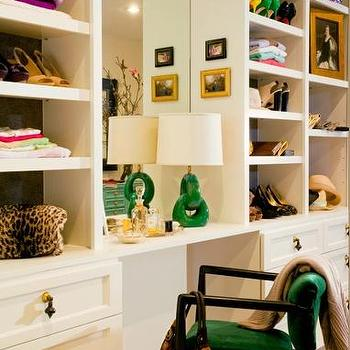 M. Design Interiors - closets - dressing room, dressing room ideas, green chair, green lamp, dressing room built ins, dressing room builtin cabinets,