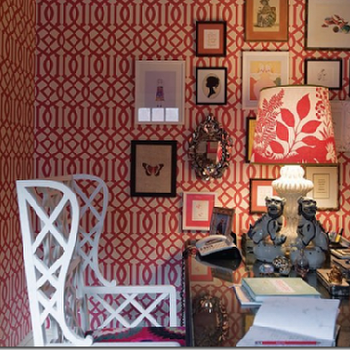Absolutely Beautiful Things - dens/libraries/offices - imperial trellis wallpaper, kelly wearstler wallpaper, kelly wearstler imperial trellis wallpaper, raspberry wallpaper, imperial trellis raspberry wallpaper, kelly wearstler imperial trellis raspberry wallpaper, kelly wearstler raspberry wallpaper, raspberry imperial trellis wallpaper, white wingback chair, Raspberry Imperial Trellis Wallpaper,