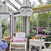 gardens: outdoor sitting area, hothouse, green house, white, wicker, furniture, crystal, chandelier,  heathercameronstylist.blogspot.com  outdoor