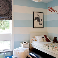 Cute blue boy's bedroom design with striped blue walls, white pendant light, blue roman ...