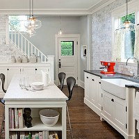 Jessica Helgerson Interior Design - kitchens - creamy, white, cabinets, apron, sink, chrome, fixtures, black, countertops, kitchen, island, marble, island, countertops, black, stools, white, carrara, marble tiles, backsplash, glass, light, pendants, kitchen, White Carrara Marble Subway Tiles,