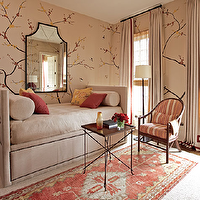 Traditional Home - living rooms - branches, wallpaper, black, mirror, velvet, daybed, french, table, floor, lamp, velvet, drapes, striped, orange, chair, red, yellow, orange, pillows, Fromental Chinese Sparrow Wallpaper,