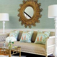 Thibaut Design - living rooms - gold, starburst, mirror, French, linen, beige, sofa, silk, blue, orange, toile, pillows, gold, faux, bamboo, coffee table, white, cowhide, rug, chair, rail, blue, green, living room, sunburst mirror, gold sunburst mirror, bamboo table, bamboo coffee table, faux bamboo table, faux bamboo coffee table, White Cowhide Rug, Arteriors White Lola Floor Lamp,
