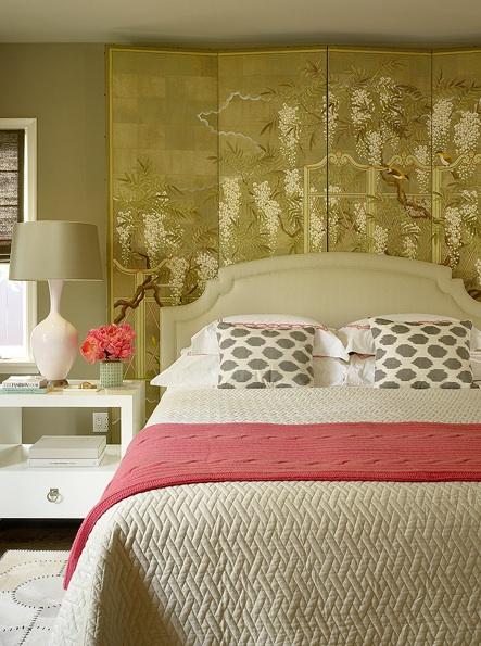 Floor Screen Headboard Asian Bedroom Burnham Design