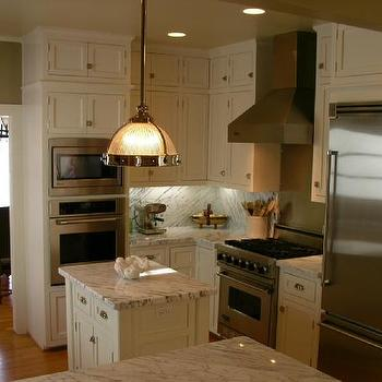C.K. Nyman Interior Design - kitchens - statuary marble, statuary marble countertops, statuary marble kitchen, small kitchen, Clemson Pendant, Marble,