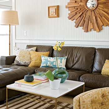 Yellow and Brown Room, Contemporary, living room, Angie Hranowski