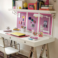 Amanda Nisbet Design - dens/libraries/offices - brown, pink, green, striped, rug, white, lacquer, sawhorse, desk, chrome, legs, white, office, chair, white, desk, lamp, pink, purple, bulletin, boards, chunky, white, shelves, teen's, office, sawhorse desks, white lacquer sawhorse desks, polished nickel sawhorse desks,