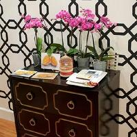 entrances/foyers - geometric wallpaper, foyer wallpaper, wallpaper for foyer, geometric wallpaper, black and white wallpaper, dorothy draper, dorothy draper chesty, Sherwin Williams Wallpaper #SW8EG5315,
