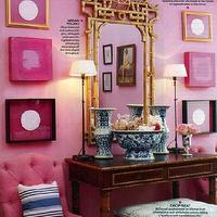 Mary McDonald - entrances/foyers - pink, tufted, chair, console, table, ottoman, pink, walls, gold, gilt, ornate, mirror, vertical, art, gallery, striped, blue, pillow, black, buffet, lamps, faux bamboo mirror, bamboo mirror, pagoda mirror, gold faux bamboo mirror, gold bamboo mirror, gold pagoda mirror,