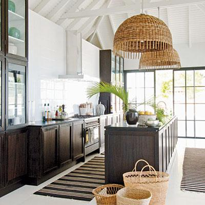 Coastal Living - kitchens - white, exposed, wood, beams, espresso, stained, kitchen, cabinets, island, woven, island, pendants, lights, striped, black, ivory, runners, rugs, baskets,