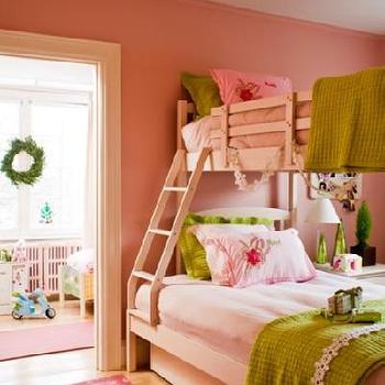 House & Home - girl's rooms - girl's room, girls bedroom, pink and green girls room, pink and green girls bedroom, girls bunk beds, pink and green bedding,