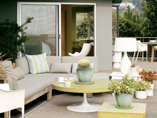 decks/patios - outdoor sectional sofa, light gray paint, light gray paint colors, outdoor coffee table,  Chic, modern patio space  Outdoor sectional