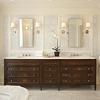 McGill Design Group - bathrooms - silver, bathroom, mirrors, polished chrome, sconces, marble, floor, tiles, wallpaper, wall, panels, double, sinks, antique, vanity, orchid, marble, countertops, espresso cabinets, espresso bathroom cabinets, stained cabinets, stained bathroom cabinets, espresso vanity, espresso bathroom vanity, double vanity, double vanity ideas, double bathroom vanity, double bathroom vanities, espresso bathroom vanity, espresso bathroom vanities, espresso double vanity, espresso double vanities, espresso double bathroom vanity, espresso double bathroom vanities, , Bryant Sconce,