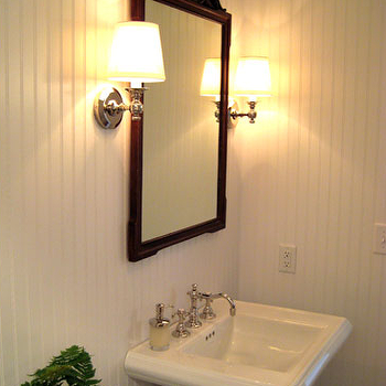 Summer Thornton Design - bathrooms - powder room, powder room beadboard, beadboard in powder room, powder rooms with beadboard, pagoda mirror, black pagoda mirror, pedestal sink, Beadboard, Restoration Hardware Lugarno Single Sconce,