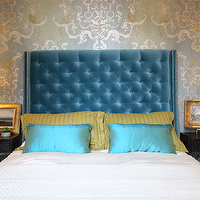 Summer Thornton Design - bedrooms - blue, velvet, tufted, wingback, headboard, nailhead, trim, striped, yellow, pillows, turquoise, blue, silk, pillows, espresso, stained, modern, nightstands, blue, lamps, gold, gilt, frames, gold, gray, walls, stencils, blue, gold, bedrooom,