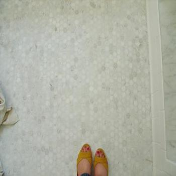 bathrooms - carrara marble, carrara marble tiles, hex tiles, hex floor, hex tile floor, carrrara marble hex tiles, carrara marble hex tile floor, carrara marble hex floor, mosaic tiles, mosaic inset tiles, carrara marble hexagon tile, carrara marble hexagon tile floor, carrara marble hexagon tile bathroom, carrara marble hexagon floor, carrara marble hexagon bathroom floor, hex tile bathroom,