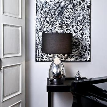 Monochrome Inc Interior Design - entrances/foyers - black and white foyer, black and white entry, tear drop lamp, tear drop table lamp, teardrop lamp, teardrop table lamp, black console table, abstract art, black and white abstract art,