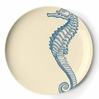 Decor/Accessories - Set of Four Sea Life Melamine Salad/Dessert Plates - seahorse, plates
