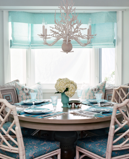 Turquoise dining room cottage dining room waterleaf for Coastal dining room ideas