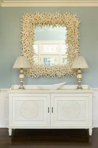 Eric Roth Photo - entrances/foyers - starfish, square, mirror, ivory, gray, buffet, lamps, white, buffet, console, table, crown, molding, blue, gray, walls, paint, color, entrance,