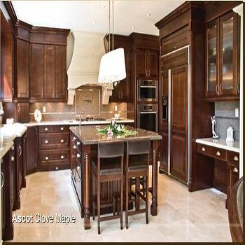 AyA Kitchens - kitchens - brown cabinets, brown kitchen cabinets, chocolate brown cabinets, chocolate brown kitchen cabinets, oval chandelier, white oval chandelier, brown leather counter stools, paneled refrigerator,