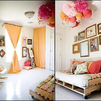 girl's rooms - orange curtains, orange, pink, girls room, orange curtains, orange drapes, orange window panels, reclaimed wood bed, reclaimed bed, crate bed,