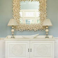 Eric Roth Photo - entrances/foyers - starfish mirror, star fish mirror, beach cottage foyer, foyer, beachy foyer, foyer cabinet, wainscoting, foyer wainscoting, entry wainscoting, entrance wainscoting, white and blue foyer,