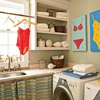My Home Ideas - laundry/mud rooms - laundry room, vintage laundry room, vintage laundry room design, vintage laundry room ideas, skirted sink, laundry room sink, vintage laundry room sink, laundry room shelves, laundry room shelving, vintage bathing suit art, bating suit art,