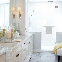 Kimberley Seldon Design Group - bathrooms - white, bathroom, cabinets, mirror, chrome, sconces, marble, countertops, marble, tiles, floors, shower, crown, molding, master, bathroom,
