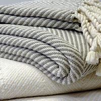 Bedding - Herringbone Throw White or Stone - THROWS - herringbone, throw, blanket